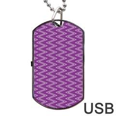 Zig Zag Background Purple Dog Tag Usb Flash (one Side) by BangZart