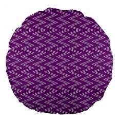 Zig Zag Background Purple Large 18  Premium Flano Round Cushions