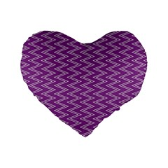 Zig Zag Background Purple Standard 16  Premium Flano Heart Shape Cushions by BangZart