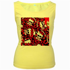 Mattel Monster Pattern Women s Yellow Tank Top