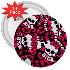 Mattel Monster Pattern 3  Buttons (10 Pack)  by BangZart