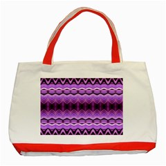 Purple Pink Zig Zag Pattern Classic Tote Bag (red)