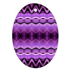 Purple Pink Zig Zag Pattern Oval Ornament (two Sides)