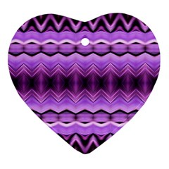 Purple Pink Zig Zag Pattern Heart Ornament (two Sides) by BangZart
