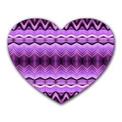 Purple Pink Zig Zag Pattern Heart Mousepads by BangZart