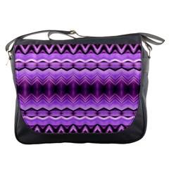 Purple Pink Zig Zag Pattern Messenger Bags by BangZart