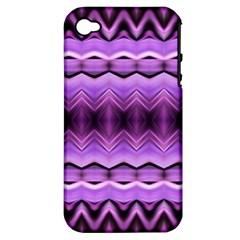 Purple Pink Zig Zag Pattern Apple Iphone 4/4s Hardshell Case (pc+silicone) by BangZart
