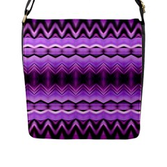 Purple Pink Zig Zag Pattern Flap Messenger Bag (l)