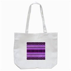 Purple Pink Zig Zag Pattern Tote Bag (white) by BangZart