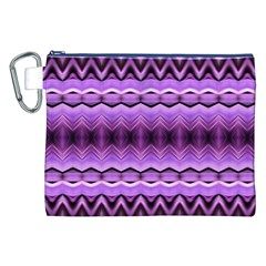 Purple Pink Zig Zag Pattern Canvas Cosmetic Bag (xxl) by BangZart