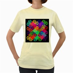 3d Fsm Tessellation Pattern Women s Yellow T Shirt