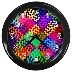3d Fsm Tessellation Pattern Wall Clocks (black) by BangZart