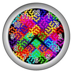3d Fsm Tessellation Pattern Wall Clocks (silver)  by BangZart