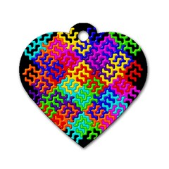 3d Fsm Tessellation Pattern Dog Tag Heart (one Side)