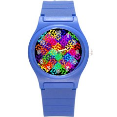 3d Fsm Tessellation Pattern Round Plastic Sport Watch (s) by BangZart