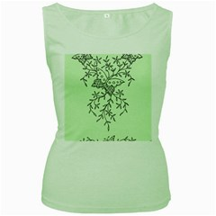 Illustration Of Butterflies And Flowers Ornament On Green Background Women s Green Tank Top
