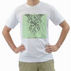 Illustration Of Butterflies And Flowers Ornament On Green Background Men s T Shirt (white) (two Sided)