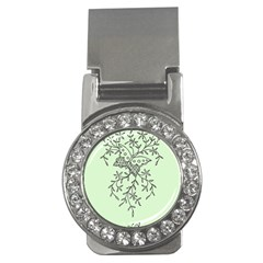 Illustration Of Butterflies And Flowers Ornament On Green Background Money Clips (cz)