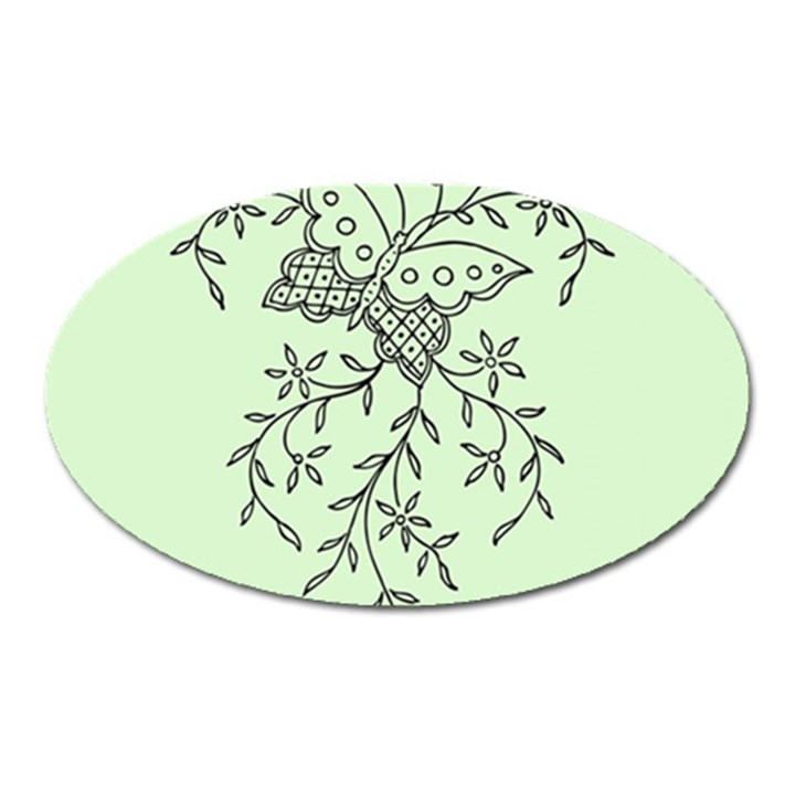 Illustration Of Butterflies And Flowers Ornament On Green Background Oval Magnet