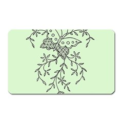 Illustration Of Butterflies And Flowers Ornament On Green Background Magnet (rectangular) by BangZart