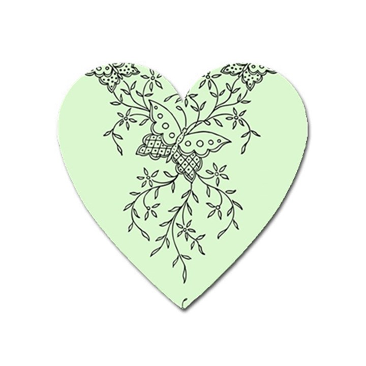 Illustration Of Butterflies And Flowers Ornament On Green Background Heart Magnet