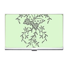 Illustration Of Butterflies And Flowers Ornament On Green Background Business Card Holders by BangZart