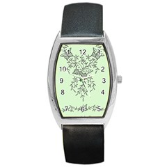 Illustration Of Butterflies And Flowers Ornament On Green Background Barrel Style Metal Watch