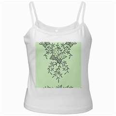 Illustration Of Butterflies And Flowers Ornament On Green Background Ladies Camisoles