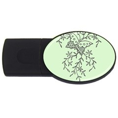 Illustration Of Butterflies And Flowers Ornament On Green Background Usb Flash Drive Oval (4 Gb) by BangZart