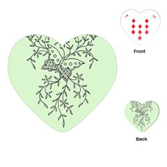 Illustration Of Butterflies And Flowers Ornament On Green Background Playing Cards (heart)