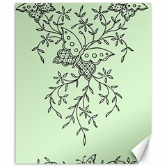 Illustration Of Butterflies And Flowers Ornament On Green Background Canvas 20  X 24   by BangZart