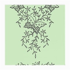 Illustration Of Butterflies And Flowers Ornament On Green Background Medium Glasses Cloth