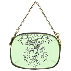 Illustration Of Butterflies And Flowers Ornament On Green Background Chain Purses (one Side)