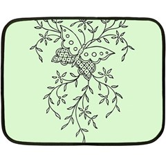 Illustration Of Butterflies And Flowers Ornament On Green Background Double Sided Fleece Blanket (mini)  by BangZart