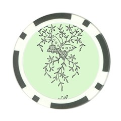 Illustration Of Butterflies And Flowers Ornament On Green Background Poker Chip Card Guard (10 Pack)