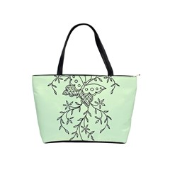 Illustration Of Butterflies And Flowers Ornament On Green Background Shoulder Handbags by BangZart