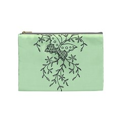 Illustration Of Butterflies And Flowers Ornament On Green Background Cosmetic Bag (medium)