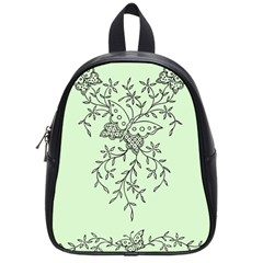 Illustration Of Butterflies And Flowers Ornament On Green Background School Bags (small)
