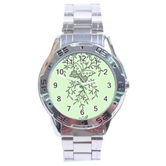 Illustration Of Butterflies And Flowers Ornament On Green Background Stainless Steel Analogue Watch by BangZart