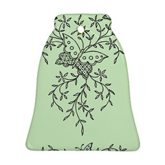 Illustration Of Butterflies And Flowers Ornament On Green Background Bell Ornament (two Sides)