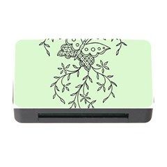 Illustration Of Butterflies And Flowers Ornament On Green Background Memory Card Reader With Cf by BangZart