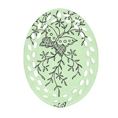 Illustration Of Butterflies And Flowers Ornament On Green Background Oval Filigree Ornament (two Sides) by BangZart