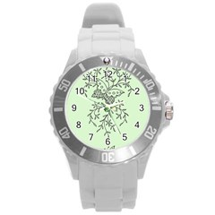 Illustration Of Butterflies And Flowers Ornament On Green Background Round Plastic Sport Watch (l) by BangZart