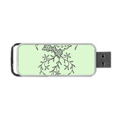Illustration Of Butterflies And Flowers Ornament On Green Background Portable Usb Flash (two Sides) by BangZart
