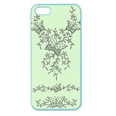 Illustration Of Butterflies And Flowers Ornament On Green Background Apple Seamless Iphone 5 Case (color) by BangZart