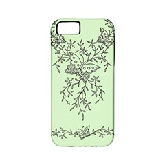 Illustration Of Butterflies And Flowers Ornament On Green Background Apple Iphone 5 Classic Hardshell Case (pc+silicone) by BangZart
