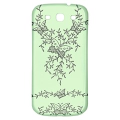Illustration Of Butterflies And Flowers Ornament On Green Background Samsung Galaxy S3 S Iii Classic Hardshell Back Case