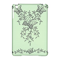 Illustration Of Butterflies And Flowers Ornament On Green Background Apple Ipad Mini Hardshell Case (compatible With Smart Cover)