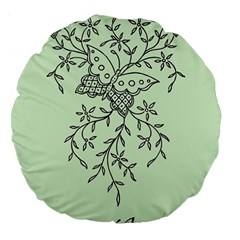 Illustration Of Butterflies And Flowers Ornament On Green Background Large 18  Premium Round Cushions