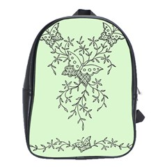 Illustration Of Butterflies And Flowers Ornament On Green Background School Bags (xl)